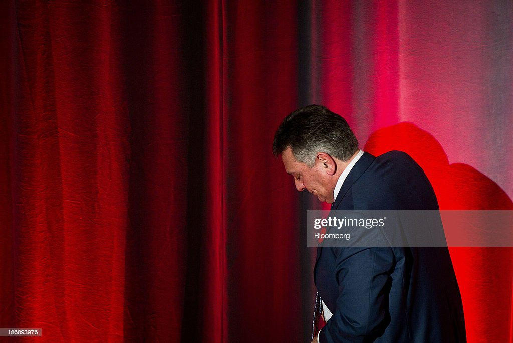 Charles Sousa, Ontario's finance minister, exits the stage after speaking at the Empire Club of Canada in Toronto, Ontario, Canada, on Monday, Nov. 4, 2013. Ontario, Canada's largest province by population, is considering tax measures to encourage investment and boost productivity, Sousa said today. Photographer: Galit Rodan/Bloomberg via Getty Images Charles Sousa