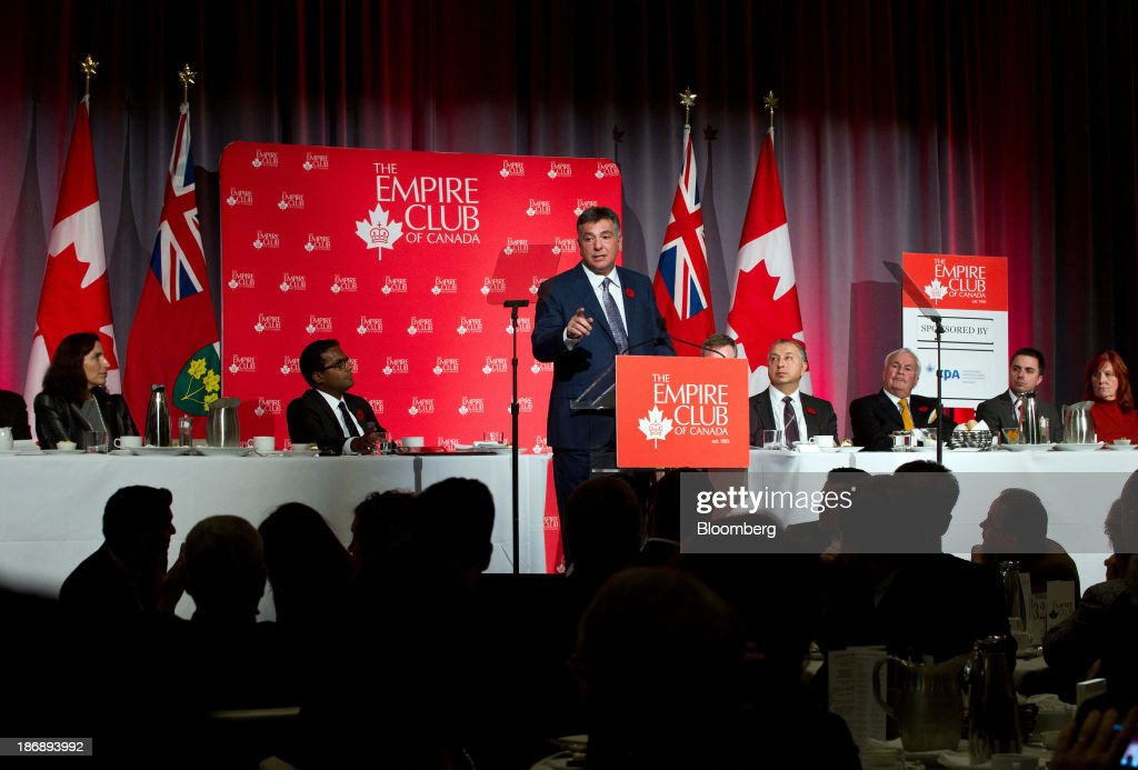 Charles Sousa, Ontario's finance minister, speaks at the Empire Club of Canada in Toronto, Ontario, Canada, on Monday, Nov. 4, 2013. Ontario, Canada's largest province by population, is considering tax measures to encourage investment and boost productivity, Sousa said today. Photographer: Galit Rodan/Bloomberg via Getty Images Charles Sousa