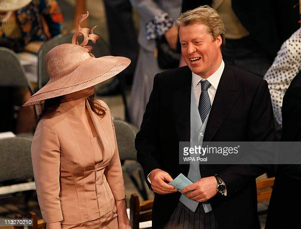 Charles Spencer 9th Earl of Spencer brother of the late Princess Diana arriveS in Westminster Abbey ahead of the Royal Wedding of Prince William to...