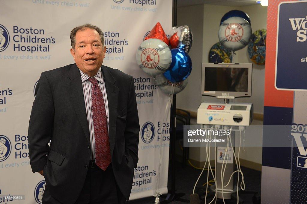 Charles Steinberg, EVP and Senior Advisor to the President and CEO, Boston Red Sox, celebrate World Series with Boston Children's Hospital Starlight Fun Center Donation at Boston Children's Hospital on October 22, 2013 in Boston, Massachusetts.
