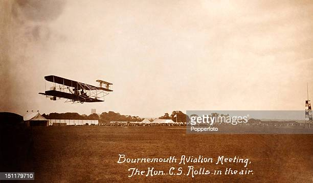 Charles Stewart Rolls in the air at an aviation meeting in Bournemouth circa 1910 the same year in which he became the first Briton to be killed in a...