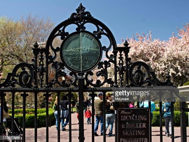 Charles Street Gate entrance to the Boston Public Garden a treelined public park in downtown Boston United States