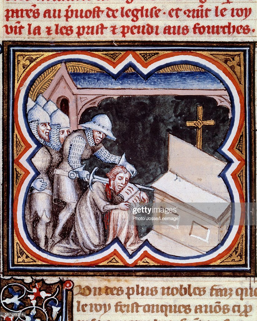 Charles the Good murdered in the church Saint Donatien in Bruges 1127 Miniature from 'Les Grandes Chroniques de France of Charles V' 13751380 BN...