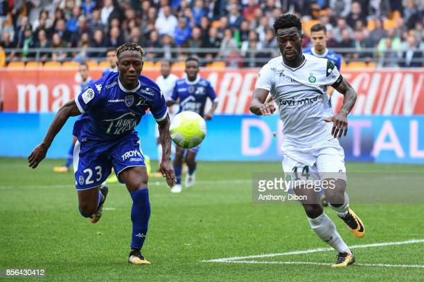 Charles Traore of Troyes and Jonathan Bamba of Saint Etienne during the Ligue 1 match between Troyes Estac and AS Saint Etienne at Stade de l'Aube on...