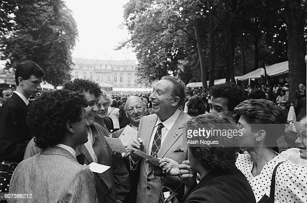 Charles Trenet at the Traditional Garden Party Held Every July 14th at the Elysee Palace
