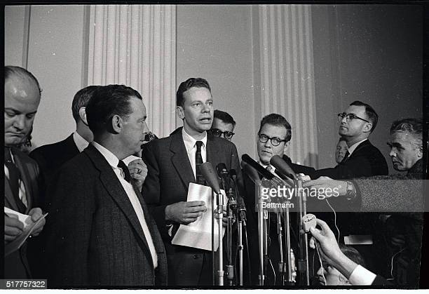 Charles Van Doren center who won thousands of dollars on a television quiz show by being told the answers in advance talks to reporters after...