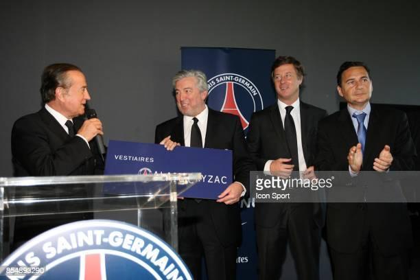 Charles VILLENEUVE Alain CAYZAC Sebastien BAZIN Eric BESSON Inauguration du Nouveau Centre d'entrainement du PSG Saint Germain en Laye Camp des Loges