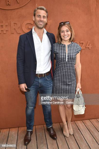 Charles Watine and actress Shirley Bousquet attend the 2017 French Tennis Open Day Three at Roland Garros on May 30 2017 in Paris France