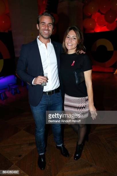 Charles Watine and actress Shirley Bousquet attend the 'Bal Jaune Elastique 2017' Dinner Party at Palais Brongniart during FIAC on October 20 2017 in...