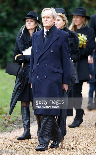 Charles Wellesley 9th Duke of Wellington attends his father Arthur Valerian Wellesley The 8th Duke of Wellington's funeral service at Stratfield Saye...