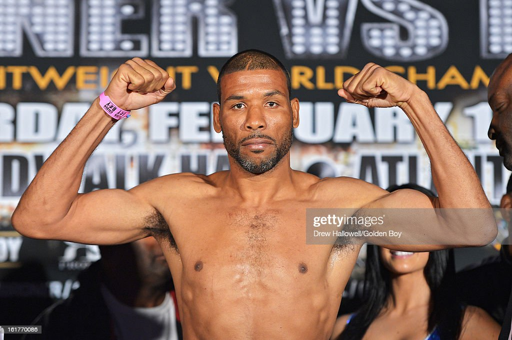 Charles Whitaker poses for photograph during weigh-in before the WBC Lightweight World Championship at Caesars Atlantic City on February 15, 2013 in Atlantic City, New Jersey.