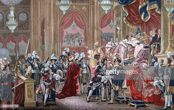 Charles X King of France and Navarre Consecration of Charles X of France in the Cathedral of Reims on May 29 1825 Engraving by Kaeseberg History of...