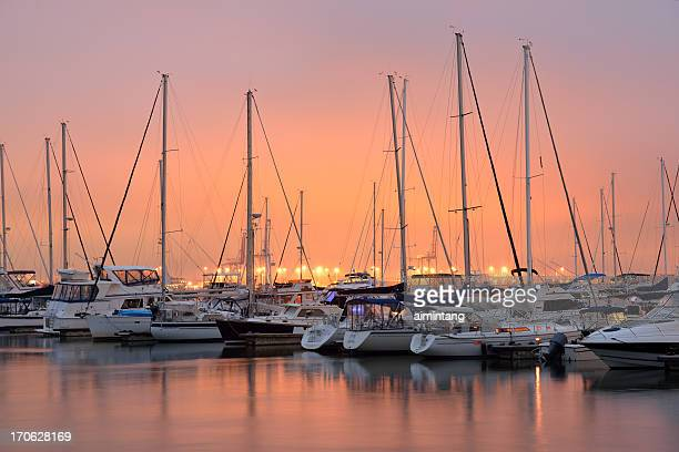 Charleston Harbor Marina at Sunset
