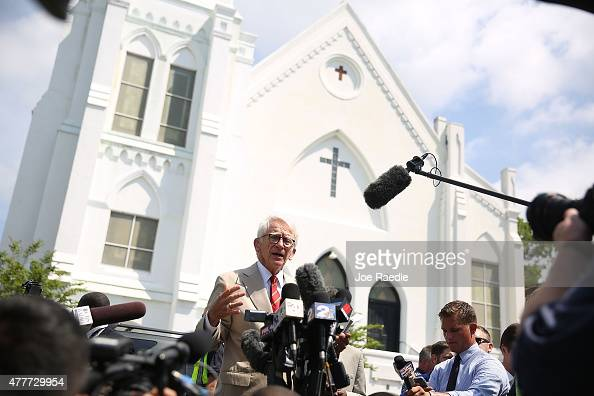 Charleston Mayor Joseph Riley speaks to the media in front of the Emanuel African Methodist Episcopal Church after a mass shooting at the church that...