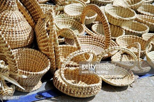 Handmade Baskets In Charleston : Charleston sweet grass baskets stock photo getty images