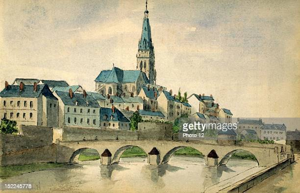 CharlevilleMezieres Place du Sepulcre watercolor France Departmental Archives of the Ardennes