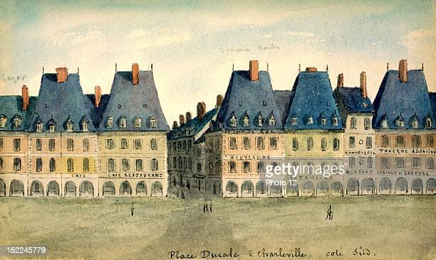 CharlevilleMezieres Place Ducale south side watercolor France Departmental Archives of the Ardennes