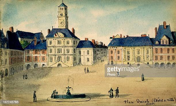 CharlevilleMezieres Place Ducale watercolor France Departmental Archives of the Ardennes