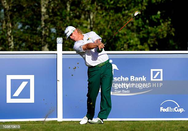 Charley Hoffman hits a drive from the 17th tee box during the final round of the Deutsche Bank Championship at TPC Boston on September 6 2010 in...