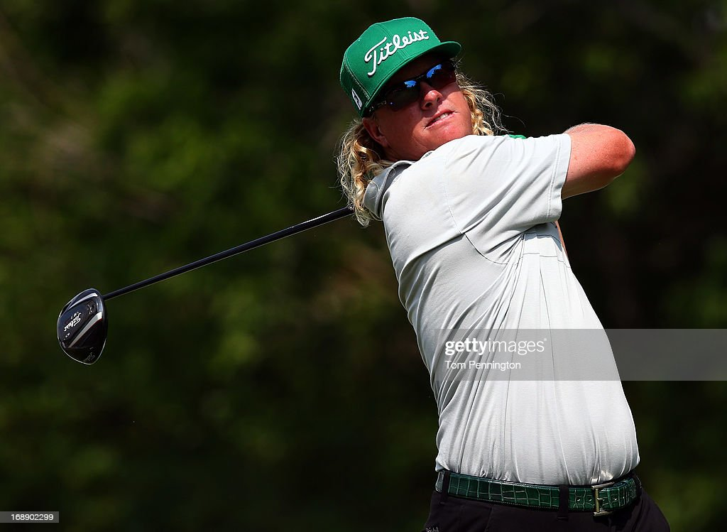 Charley Hoffman hits a shot during the first round of the 2013 HP Byron Nelson Championship at the TPC Four Seasons Resort on May 16, 2013 in Irving, Texas.