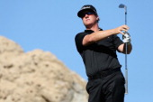 Charley Hoffman hits a shot on the third hole on the Jack Nicklaus Private Course at PGA West during the second round of the Humana Challenge in...