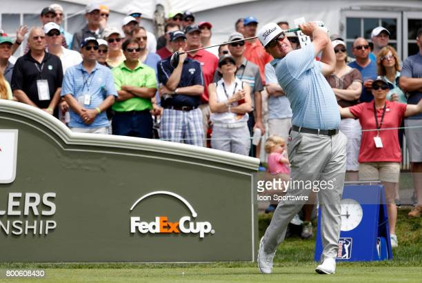 Charley Hoffman of the United States drives from the 1st tee during the third round of the Travelers Championship on June 24 at TPC River Highlands...