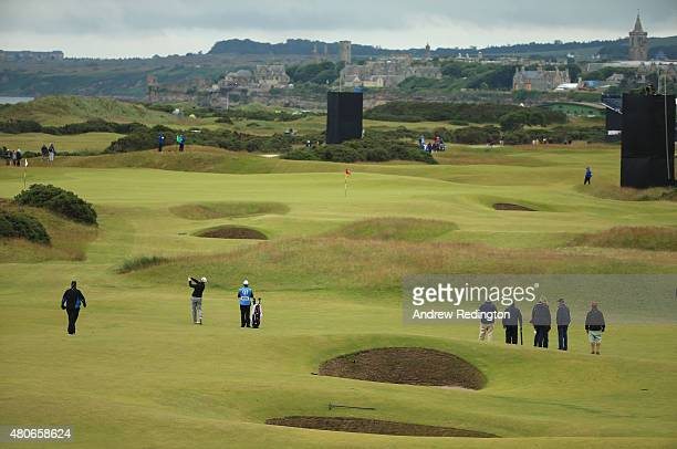 Charley Hoffman of the United States on the 13th ahead of the 144th Open Championship at The Old Course on July 14 2015 in St Andrews Scotland
