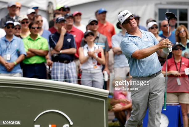 Charley Hoffman of the United States on the first tee during the third round of the Travelers Championship on June 24 at TPC River Highlands in...