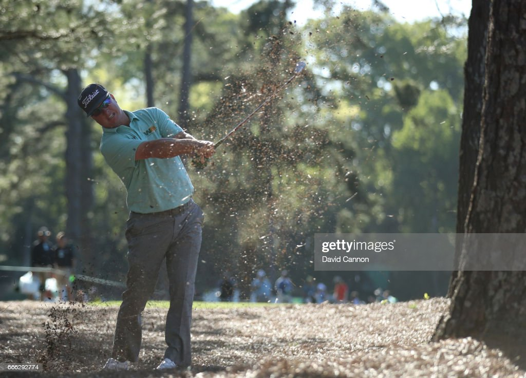 Charley Hoffman of the United States plays his second shot on the 14th hole during the third round of the 2017 Masters Tournament at Augusta National Golf Club on April 8, 2017 in Augusta, Georgia.