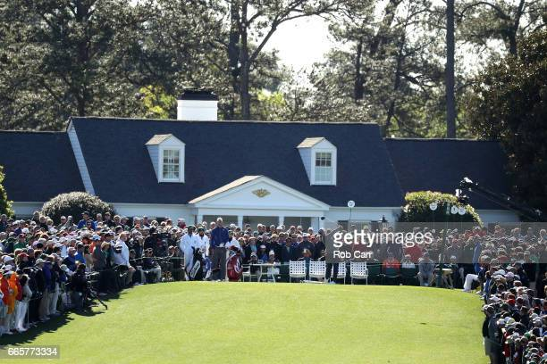 Charley Hoffman of the United States plays his shot from the first tee during the second round of the 2017 Masters Tournament at Augusta National...