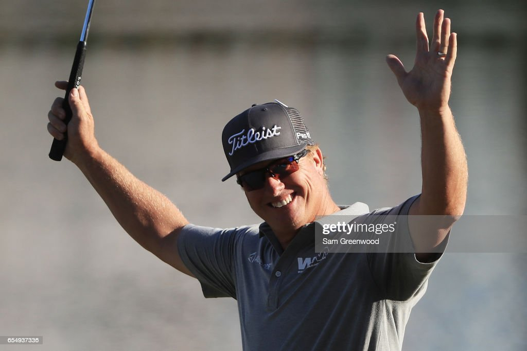 Charley Hoffman of the United States reacts after putting for birdie on the 18th green during the third round of the Arnold Palmer Invitational Presented By MasterCard at Bay Hill Club and Lodge on March 18, 2017 in Orlando, Florida.