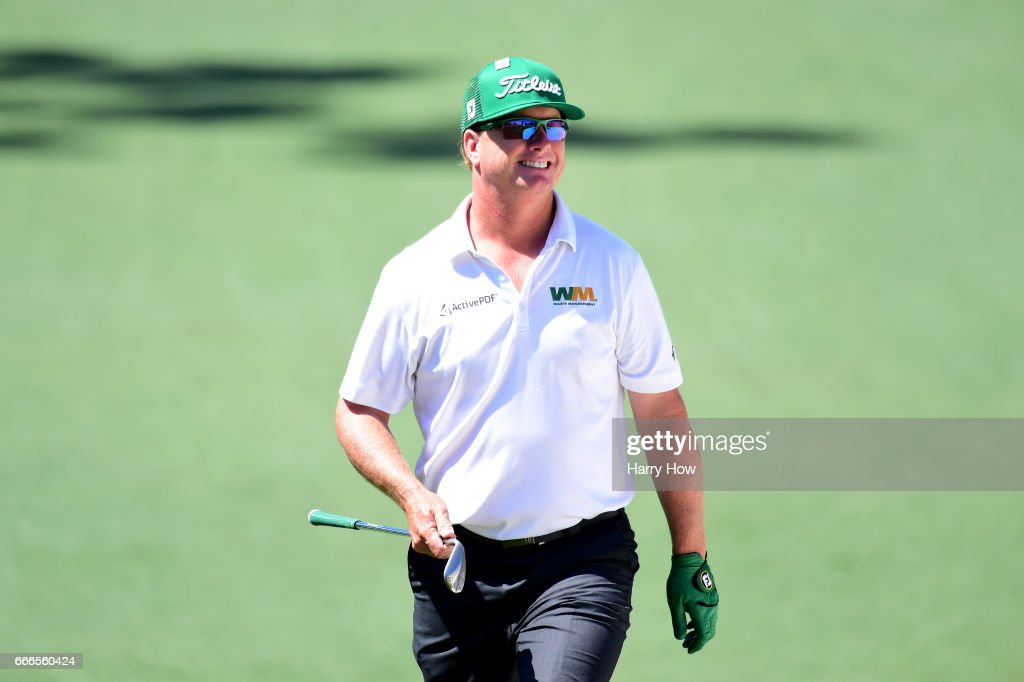 Charley Hoffman of the United States reacts to a chip on the second hole during the final round of the 2017 Masters Tournament at Augusta National Golf Club on April 9, 2017 in Augusta, Georgia.