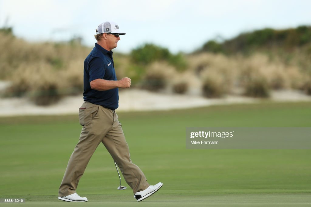 Charley Hoffman of the United States reacts to his birdie on the 18th green during the second round of the Hero World Challenge at Albany, Bahamas on December 1, 2017 in Nassau, Bahamas.