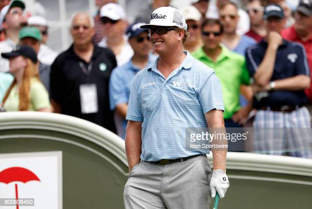 Charley Hoffman of the United States smiles on the first tee during the third round of the Travelers Championship on June 24 at TPC River Highlands...