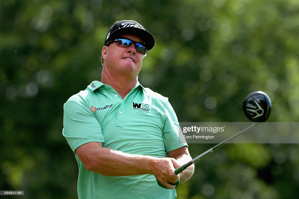 <a gi-track='captionPersonalityLinkClicked' href=/galleries/search?phrase=Charley+Hoffman&family=editorial&specificpeople=578840 ng-click='$event.stopPropagation()'>Charley Hoffman</a> plays his shot from the 11th tee during the First Round of the DEAN & DELUCA Invitational at Colonial Country Club on May 26, 2016 in Fort Worth, Texas.
