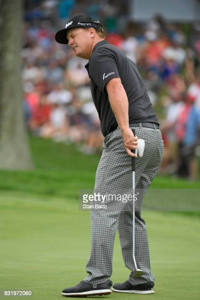 Charley Hoffman reacts to his putt at the 18th hole during the final round of the World Golf ChampionshipsBridgestone Invitational at Firestone...