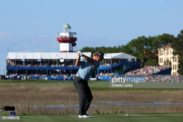 Charley Hoffman tees off on the 18th hole during the third round of the 2016 RBC Heritage at Harbour Town Golf Links on April 16 2016 in Hilton Head...