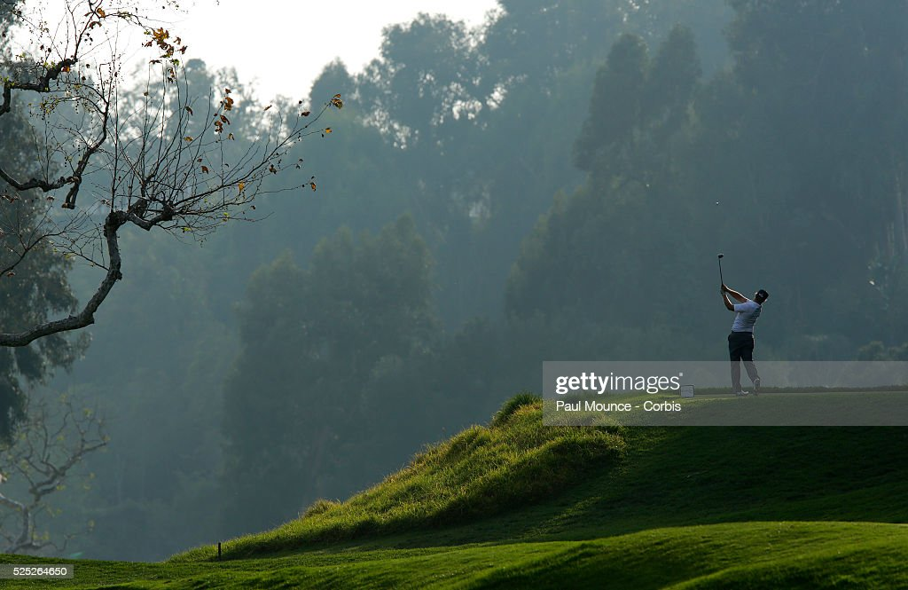 Charley Hoffman tees off on the 5th Hole during the second round of the Northern Trust Open held at Riviera Country Club in Los Angeles CA