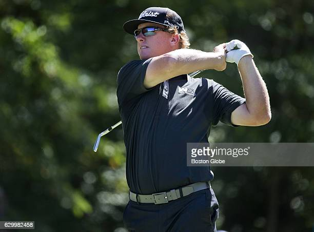 Charley Hoffman watches the flight of his tee shot on the 8th hole during the secondround action at the Deutsche Bank Championship at TPC Boston in...
