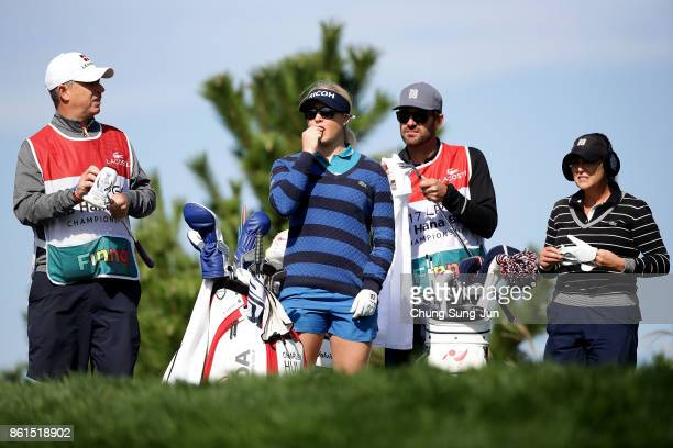 Charley Hull of England and Cristie Kerr of United States on the 3rd hole during the final round of the LPGA KEB Hana Bank Championship at the Sky 72...