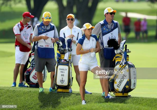Charley Hull of England and the European Team with Melissa Reid on the 11th hole in their match against Cristie Kerr and Lexi Thompson of the United...