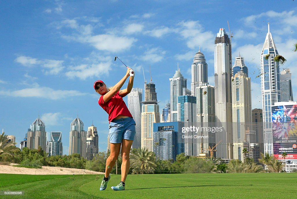 Charley Hull of England in action during the proam as a preview for the 2015 Omega Dubai Ladies Masters on the Majlis Course at The Emirates Golf...