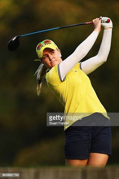 Charley Hull of England plays a shot during practice prior to the start of the Evian Championship Golf on September 14 2016 in EvianlesBains France