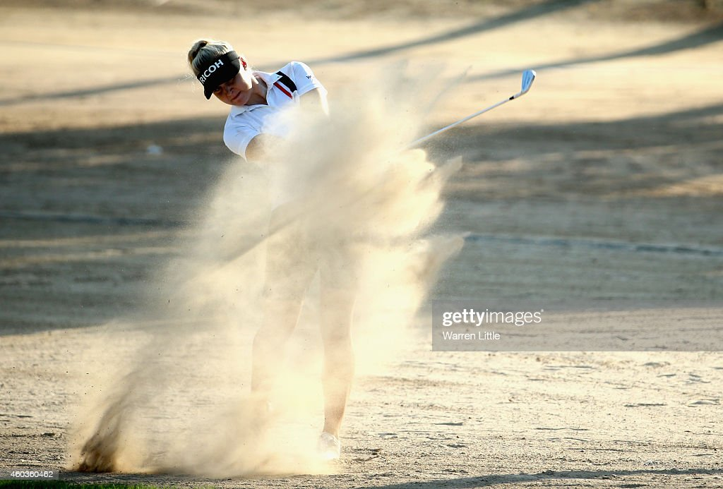 Charley Hull of England plays her fourth shot on the 12th hole during the third round of the Omega Dubai Ladies Masters on the Majlis Course at...