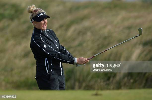 Charley Hull of England plays her second shot at the 17th during the second day of the Aberdeen Asset Management Ladies Scottish Open at Dundonald...