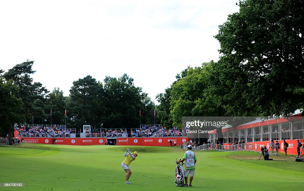 Charley Hull of England plays her second shot at the 18th hole during the third round of the 2016 Ricoh Women's British Open on July 30 2016 in...