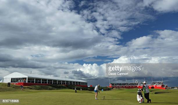Charley Hull of England plays her second shot to the 18th hole during the third round of the Ricoh Women's British Open at Kingsbarns Golf Links on...