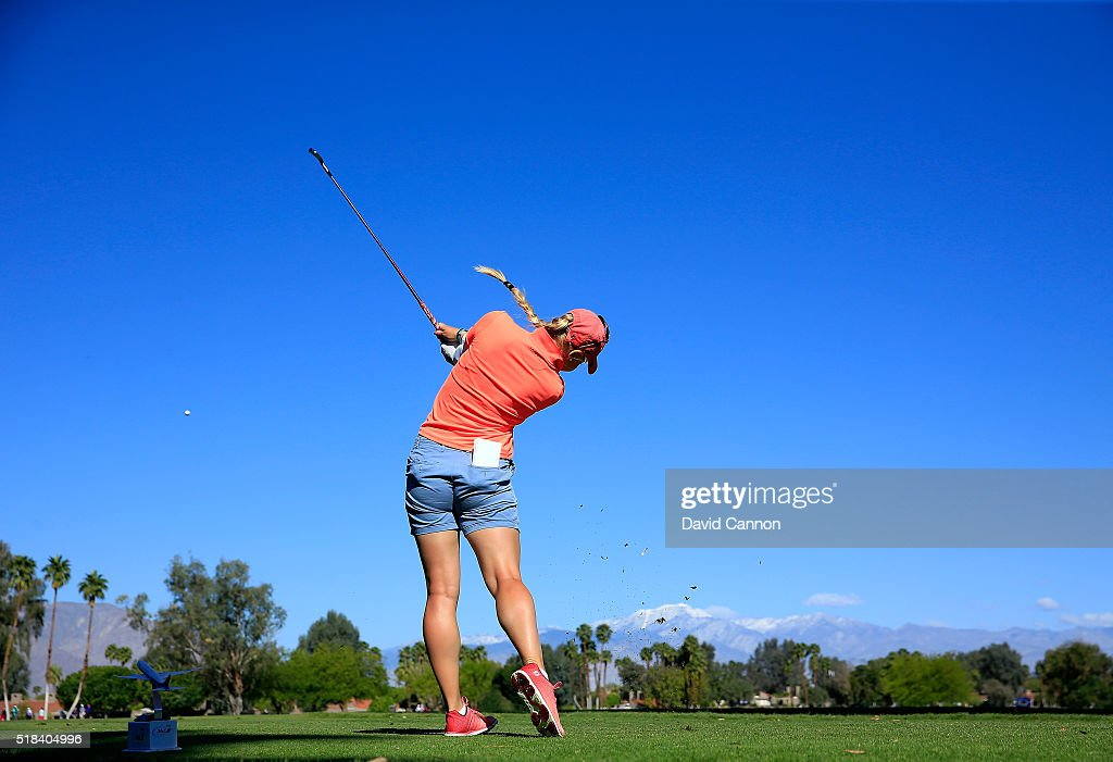 Charley Hull of England plays her tee shot at the par 3, fifth hole during the first round of the 2016 ANA Inspiration at Mission Hills Country Club on March 31, 2016 in Rancho Mirage, California.