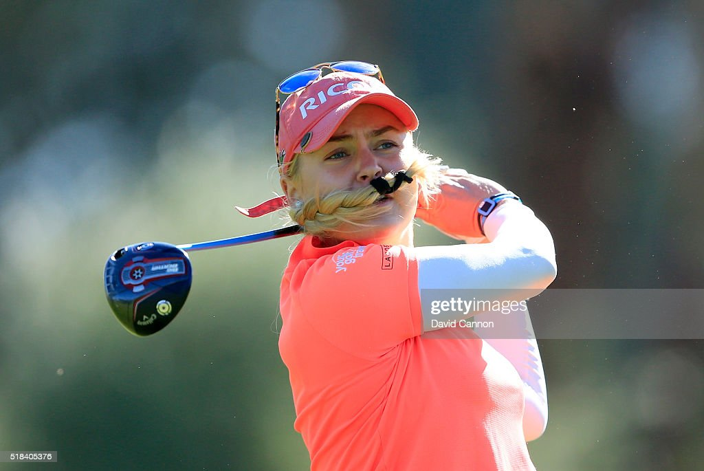 Charley Hull of England plays her tee shot at the par 4, third hole during the first round of the 2016 ANA Inspiration at Mission Hills Country Club on March 31, 2016 in Rancho Mirage, California.