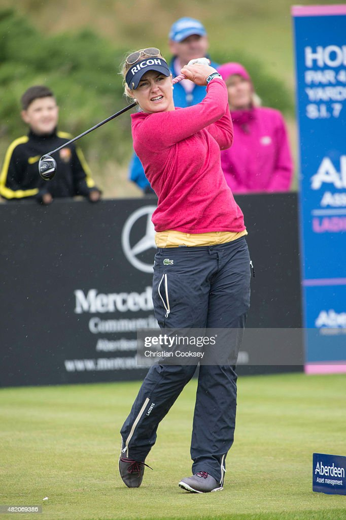 TROON, SCOTLAND - JULY 26. Charley Hull of England tees off on the 17th during the final round Aberdeen Asset Management Scottish Ladies Open at Dundonald Links Golf Course on July 26, 2015 in Troon, Scotland.